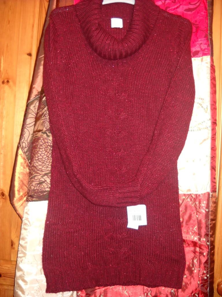 76db71d83a3 Robe pull Camaïeu Taille 1 col roulé rouge framboise Neuve avec étiquette